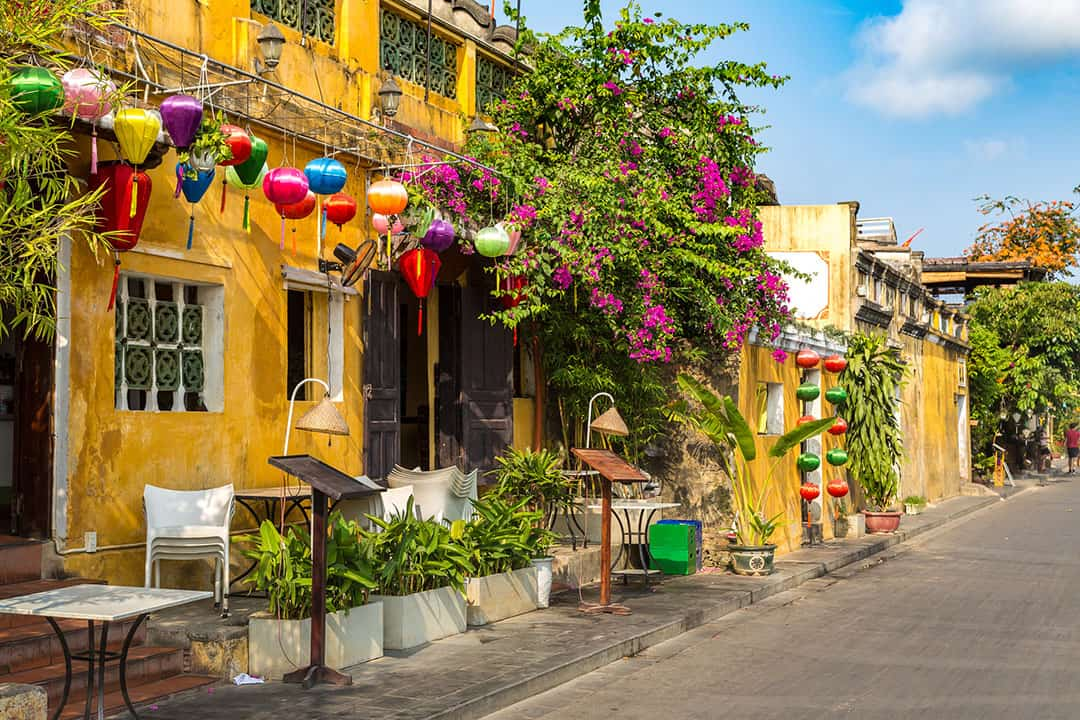 Colorful street in Hoi An Vietnam