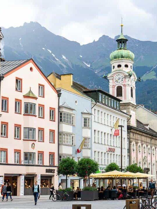 Colour buildings on a street of Innsbruck in Austria