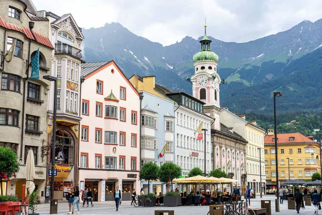 Colour buildings on a street of Innsbruck in Austria
