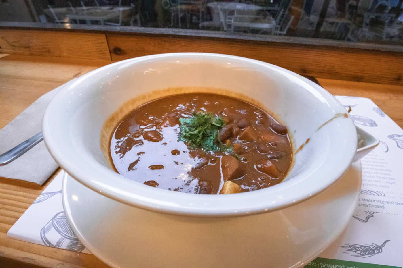 Kidney bean stew at organic vegan restaurant zrno bio bistro in Zagreb Croatia