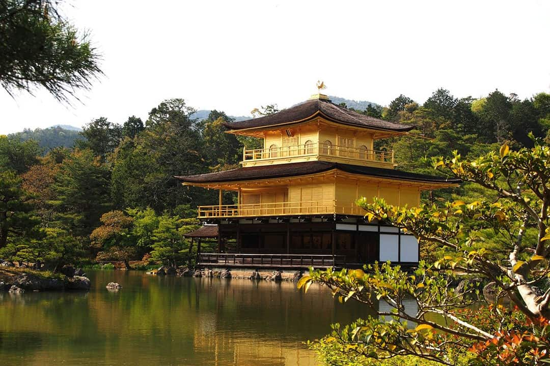 Kinakuji temple with a lake in front