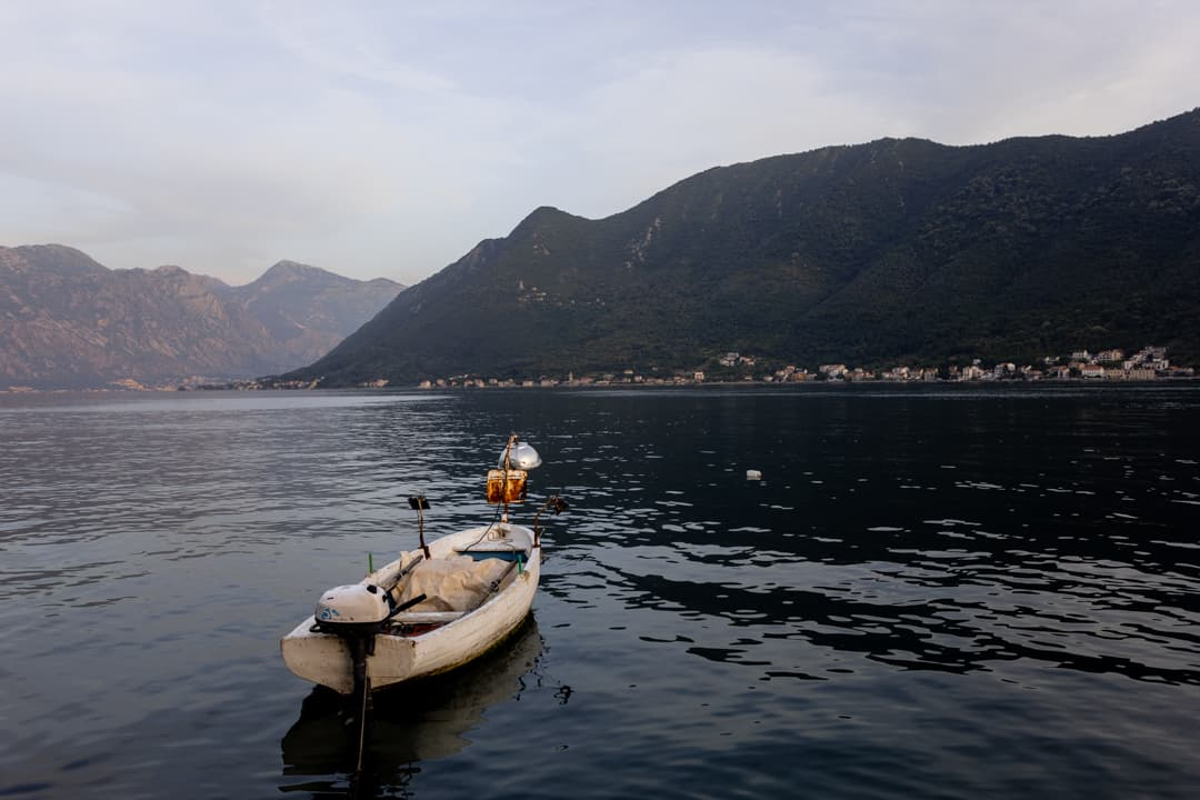 A boat on the lake in Perast Montenegro