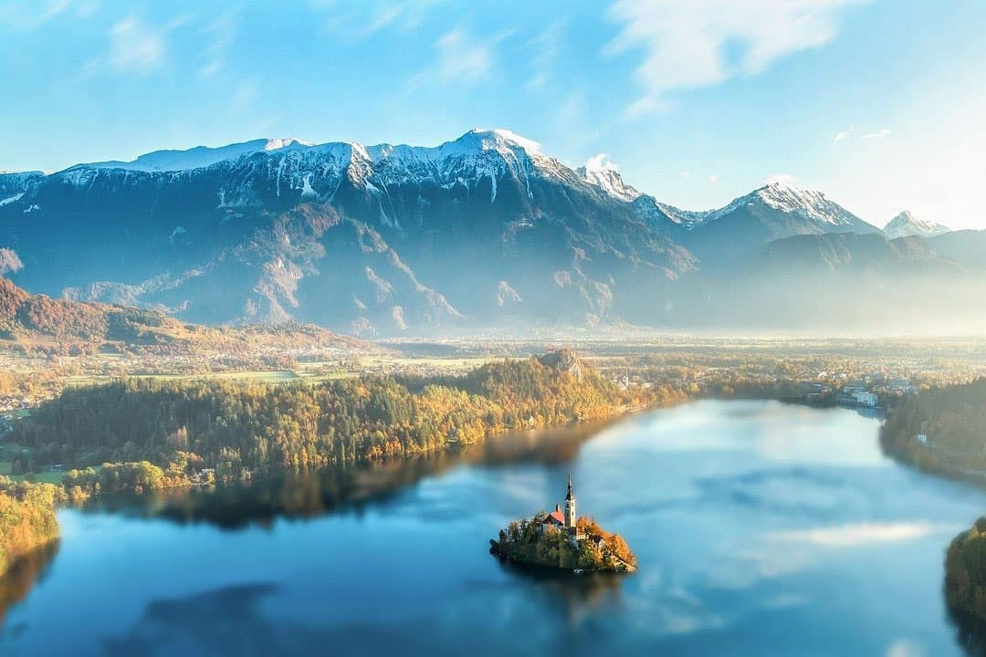 Aerial shot of Lake Bled in Slovenia