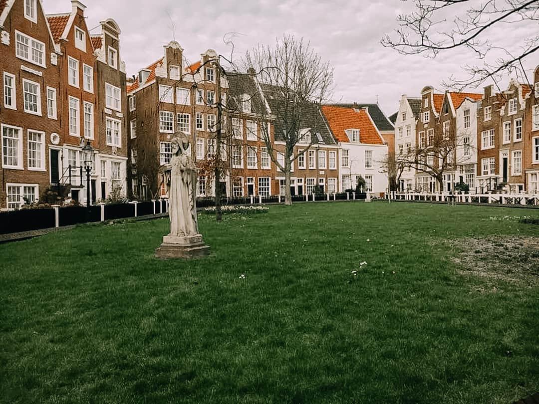 Begijnhof courtyard in Amsterdam, Netherlands