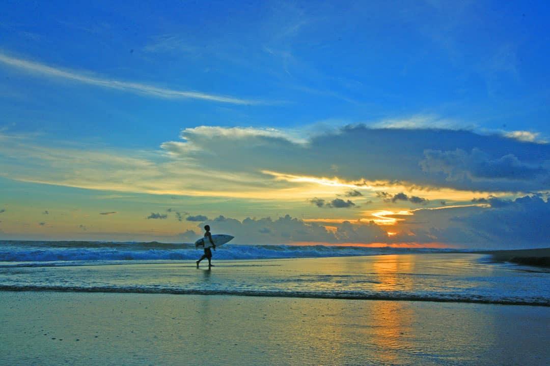 Sunset at Canggu surfing beach Bali