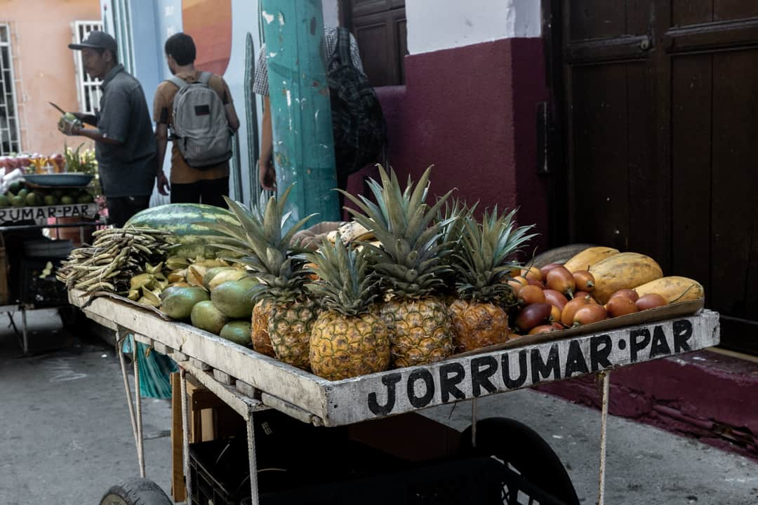 A street cart selling exotic fruit in Cartagena Colombia