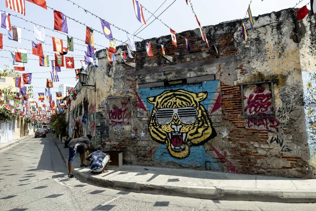 Street art in Getsemani in Cartagena Colombia