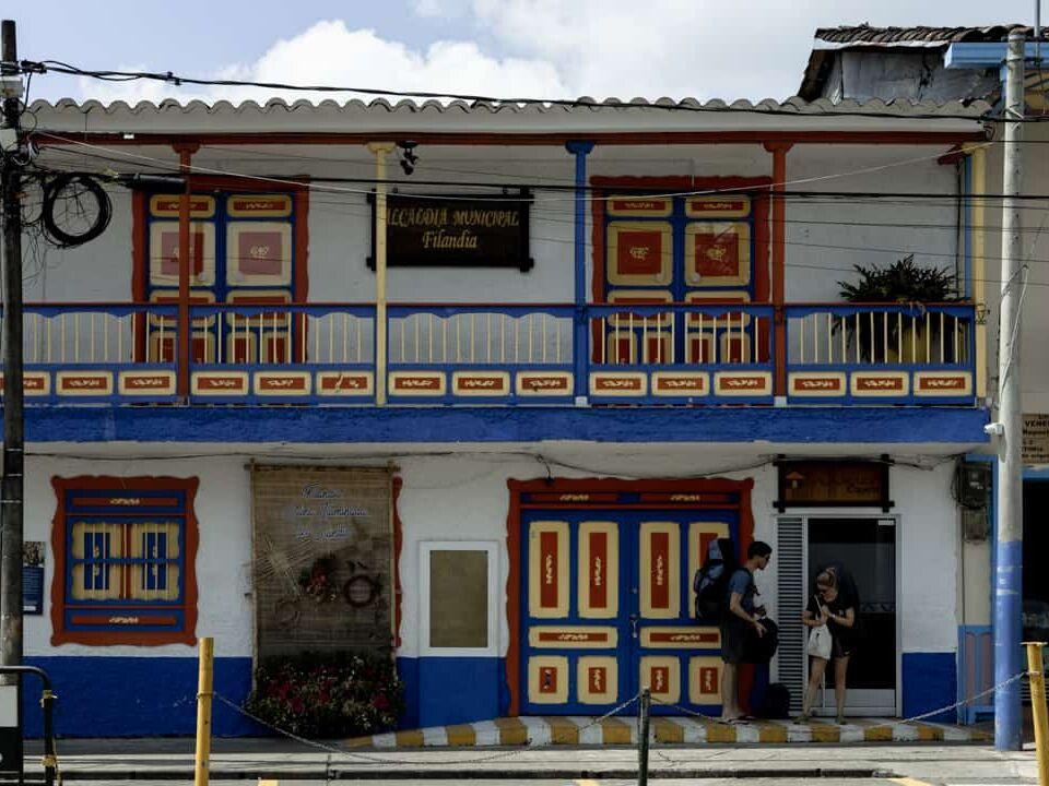 Colourful buildings in Filandia Quindio Colombia