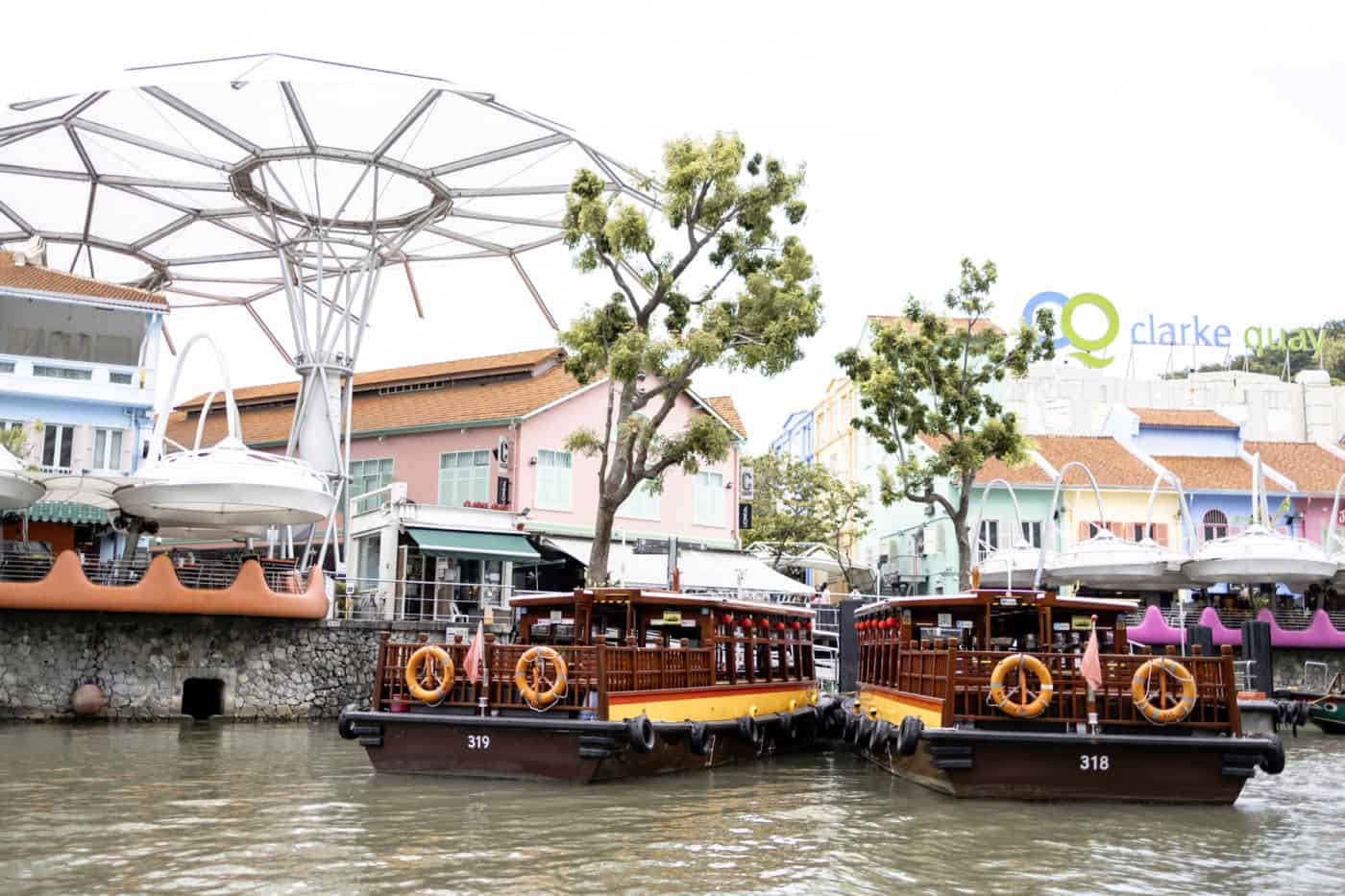 Singapore river cruise boats in front of Clarke Quay