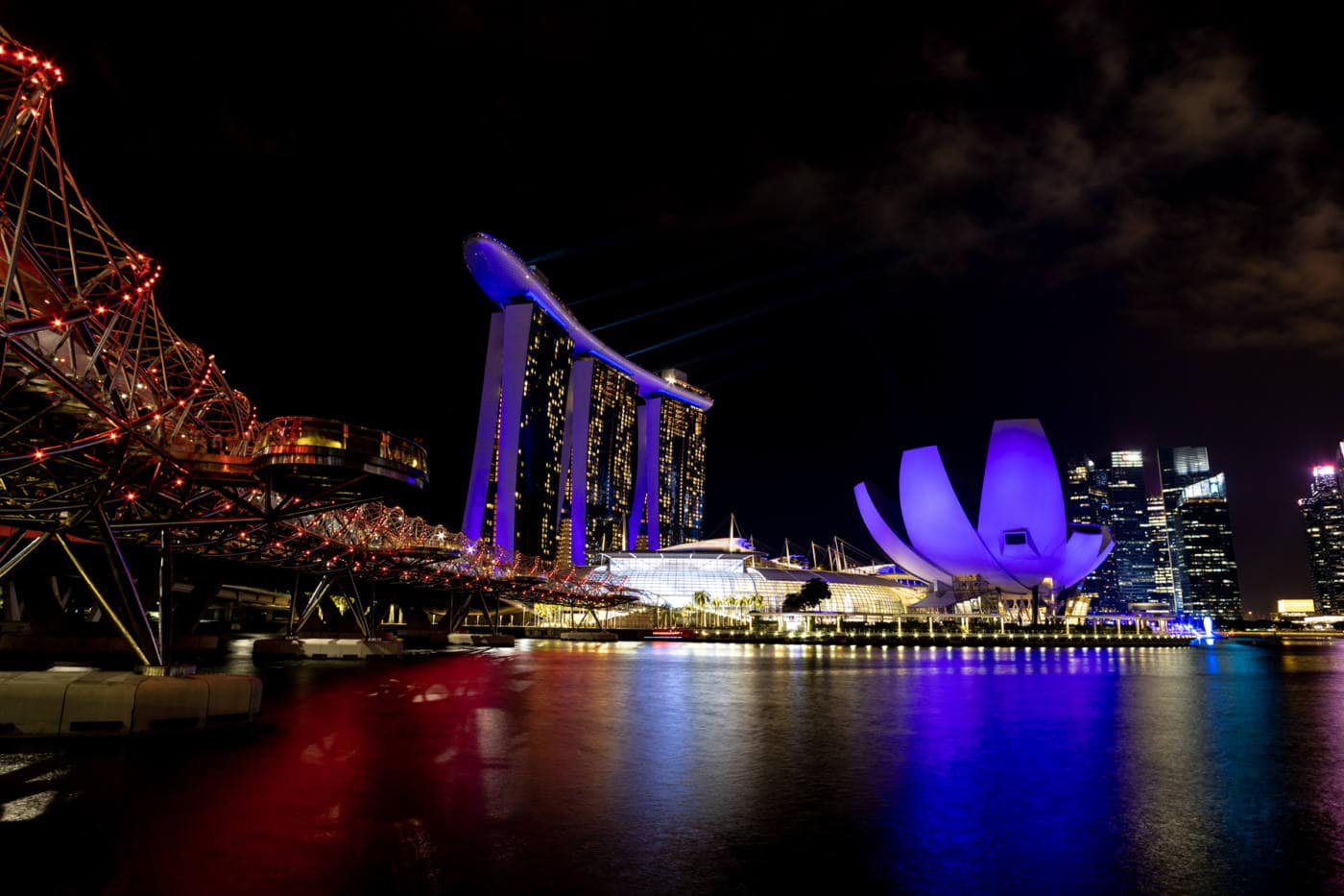The nightly light and laser show at the Marina Bay Sands hotel in Singapore