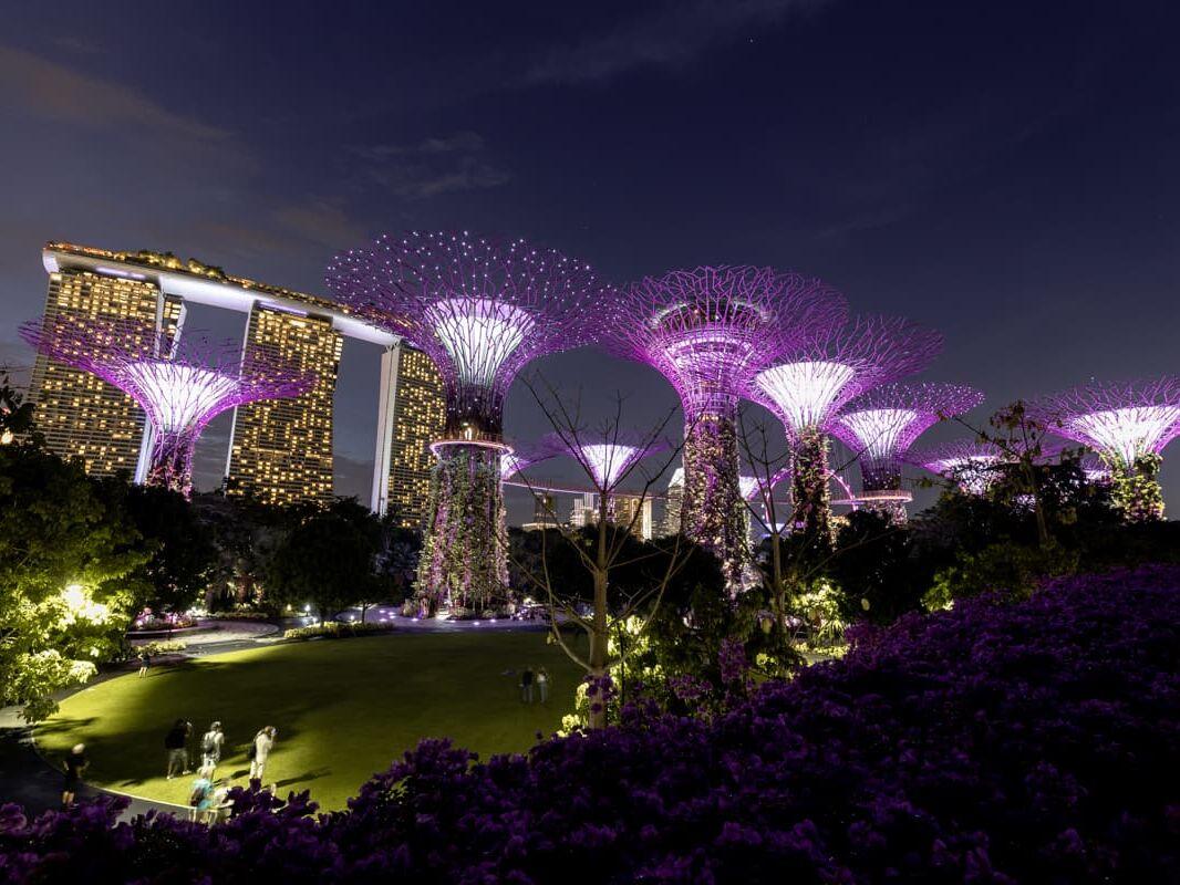 A light show at the Marina Bay Sands Singapore