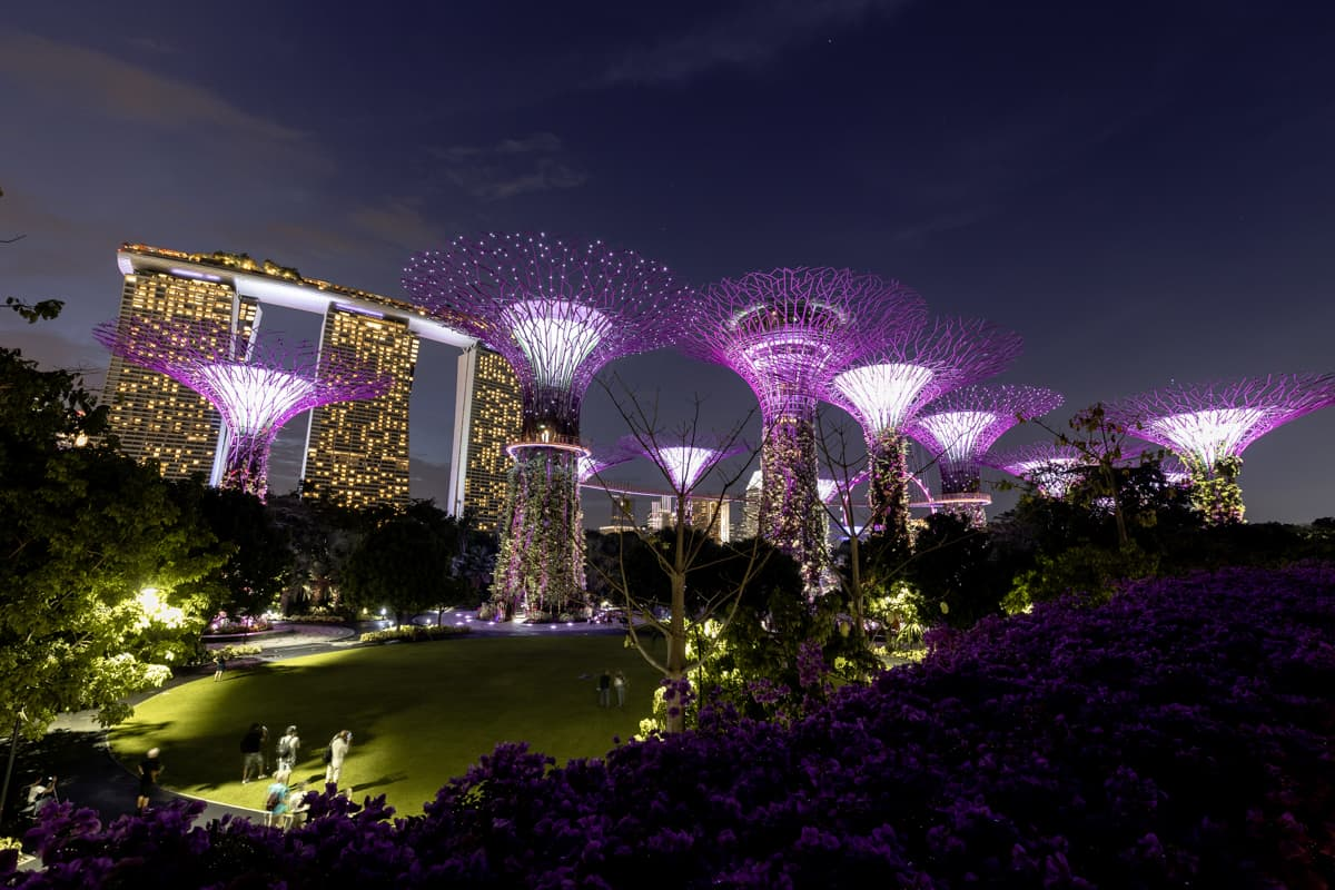 A light show at the Marina Bay Sands Singapore