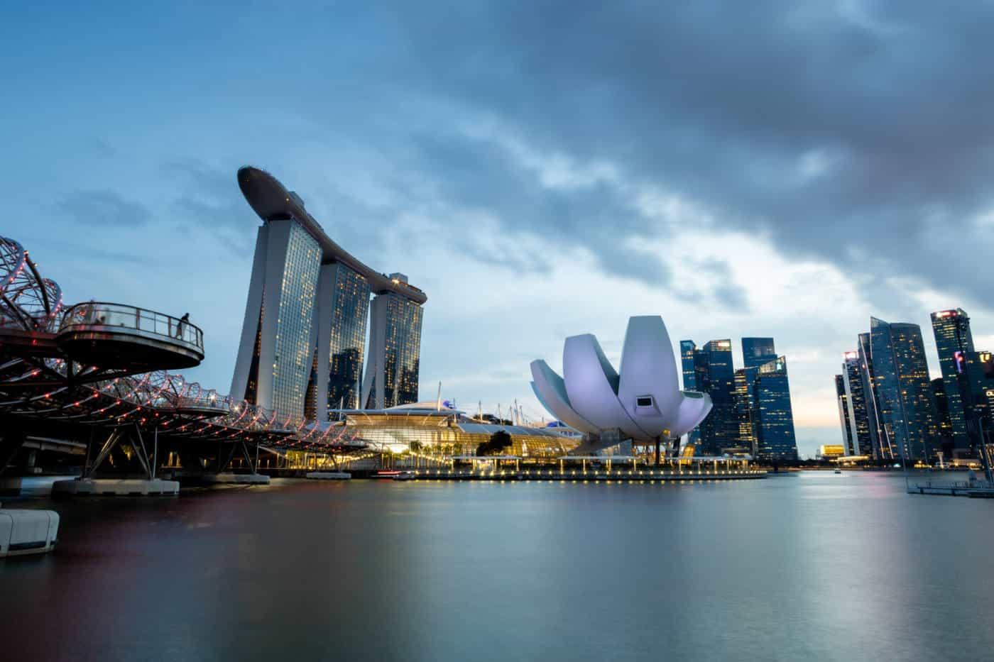 Marina Bay Sands at sunset Singapore