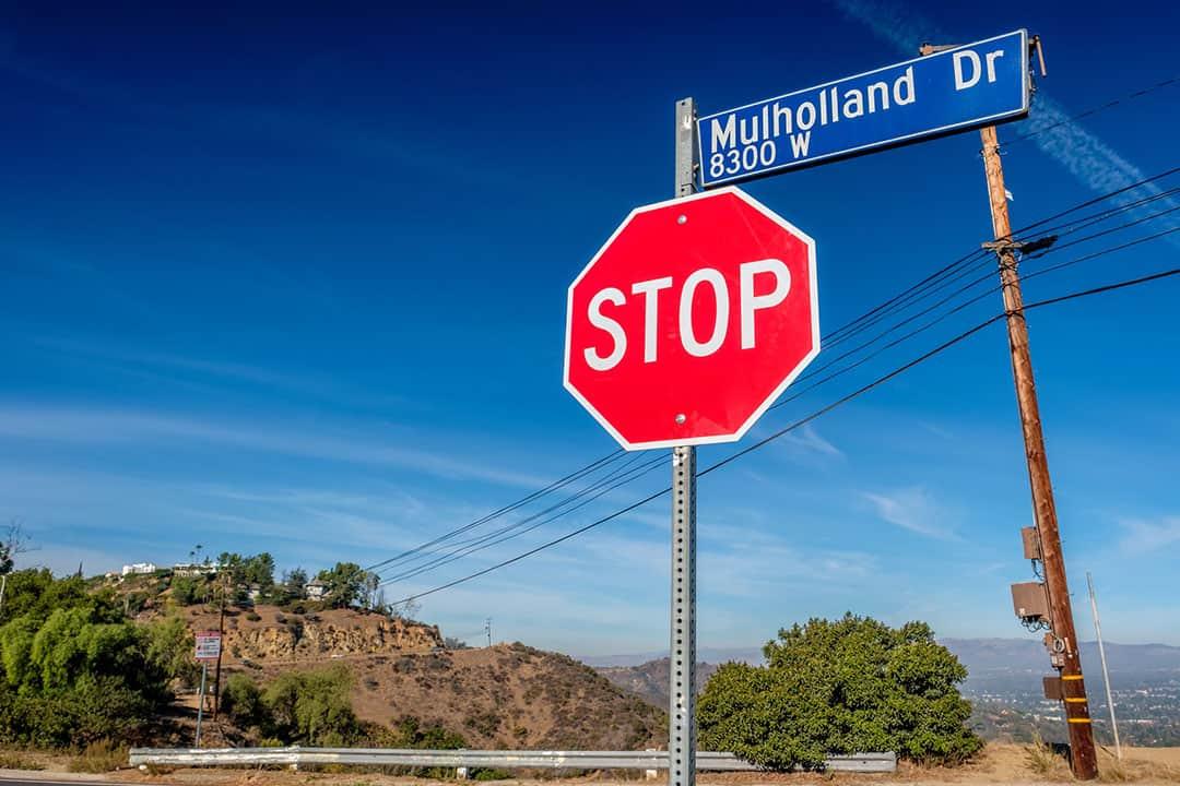 Mulholland Highway sign, Los Angeles, California, USA.