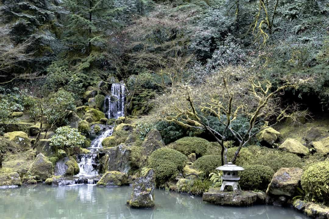 A waterfall inside the Portland Japanese garden in Oregon USA
