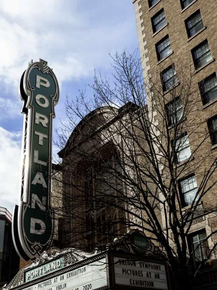 Art deco style Portland sign in Portland Oregon USA