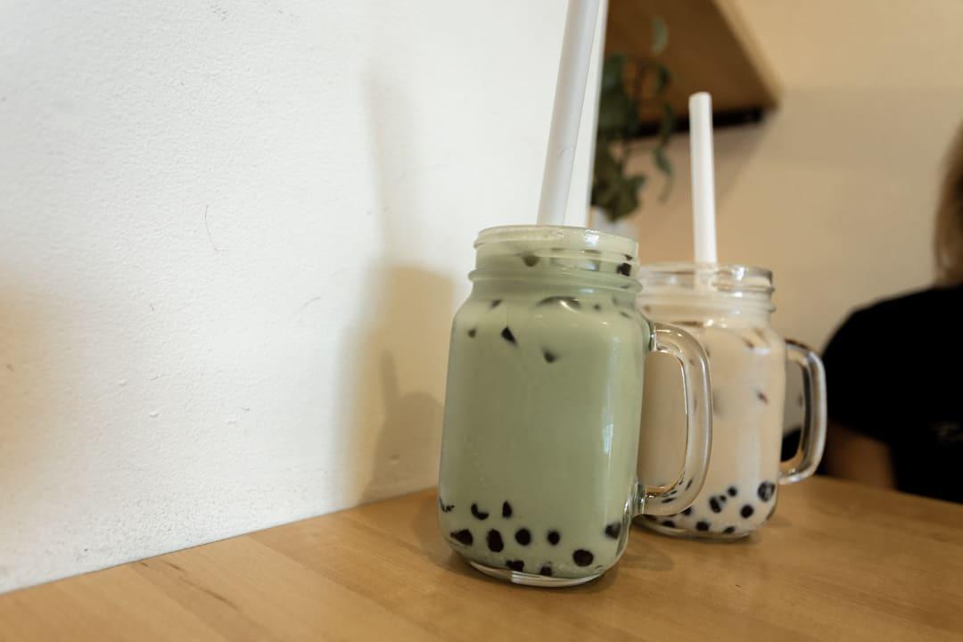 Two glasses of bubble tea at Tea Bar in Portland Oregon USA