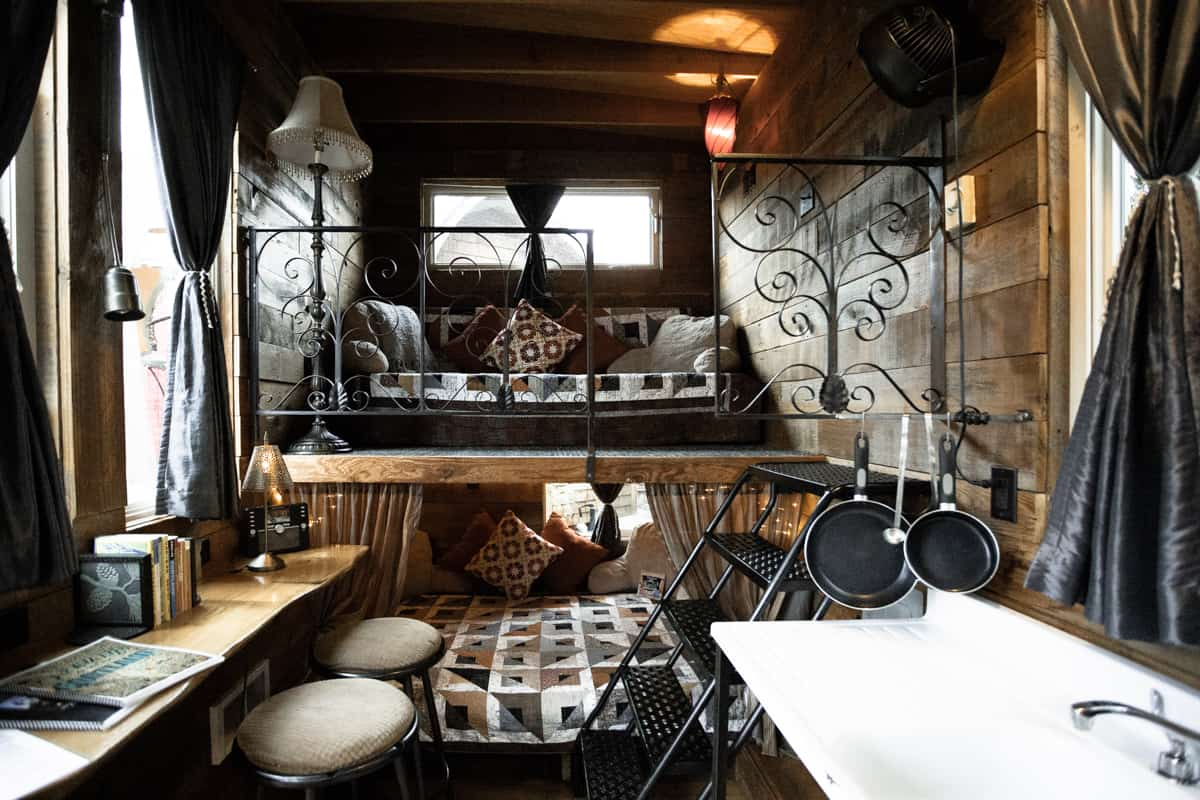 Inside one of the tiny homes at the Tiny House Hotel in Portland Oregon USA