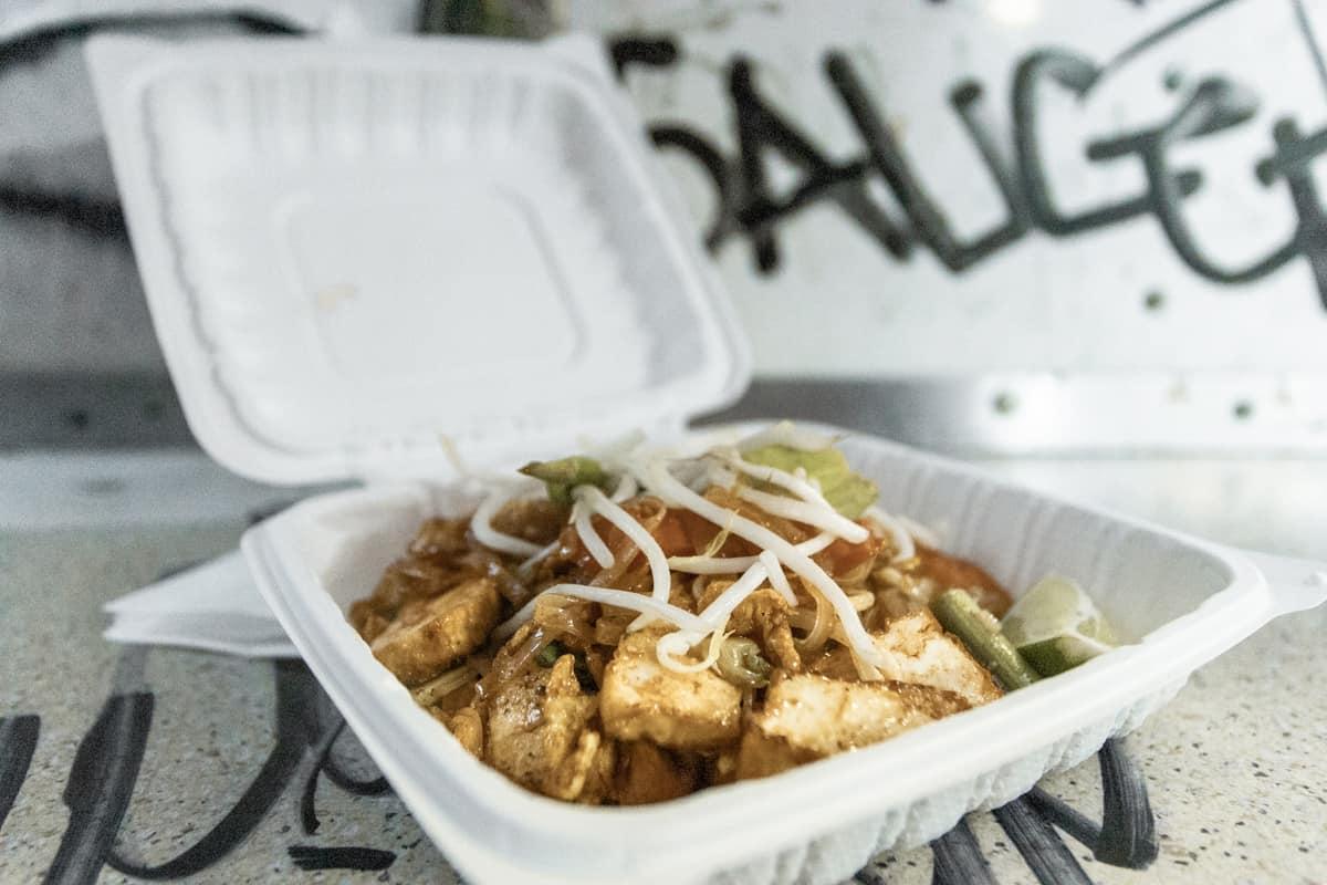 Tofu pad thai from a food truck pod in Portland Oregon USA
