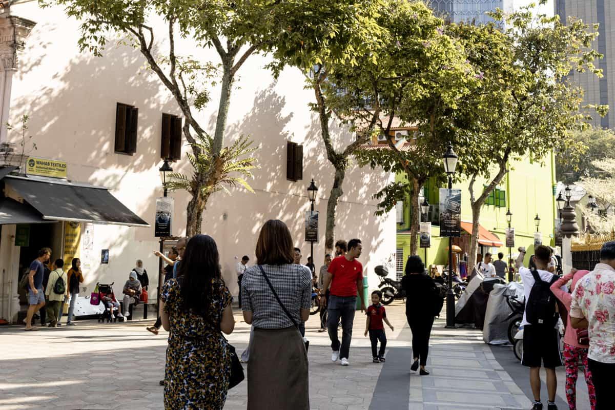 Two women taking photos in Arab Street Singapore