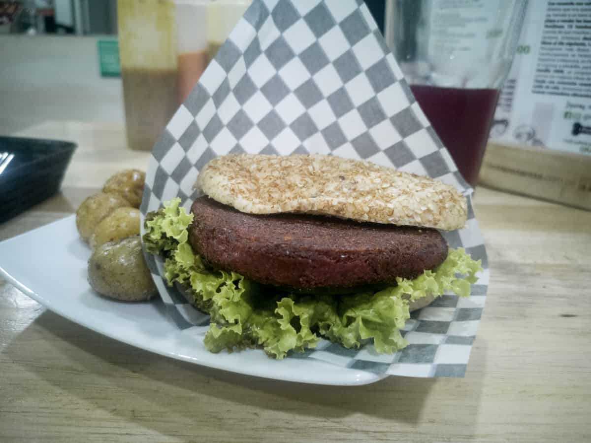 Vegetarian burger at Lenteja Express in Medellin