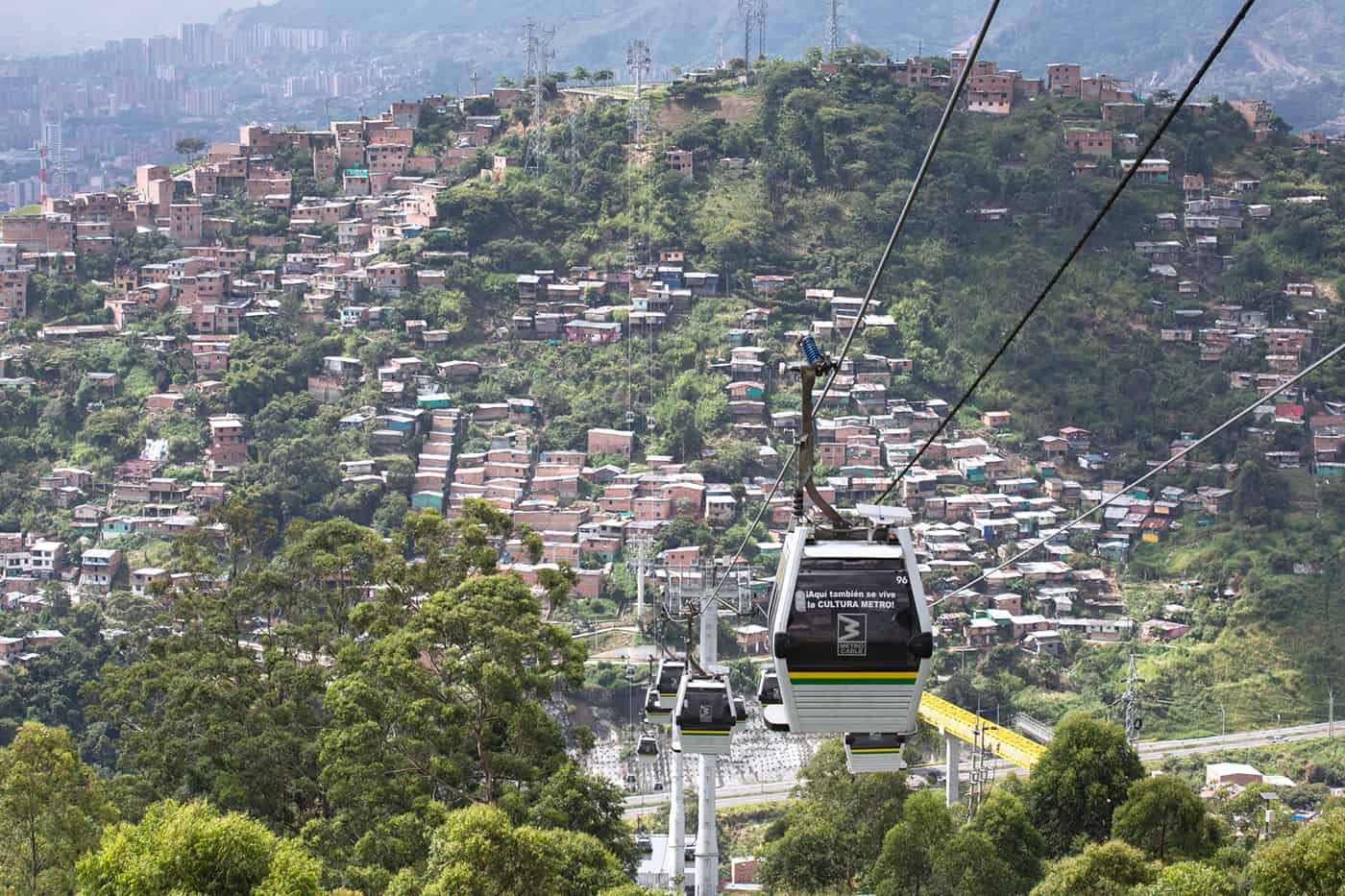 MEDELLIN, COLOMBIA - OCTOBER 10, 2016: Metrocable public transpo