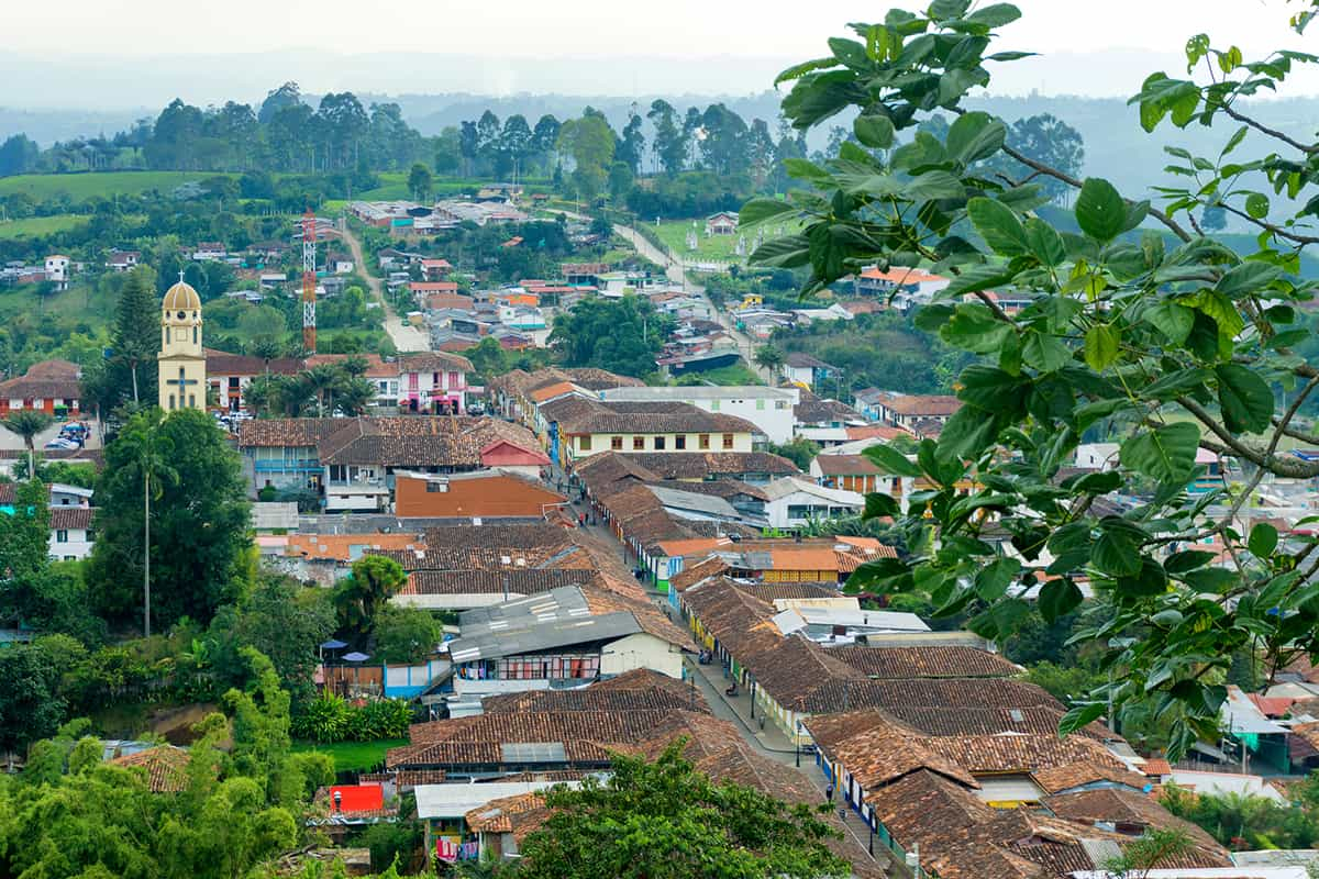 View of the historic town of Salento, Colombia