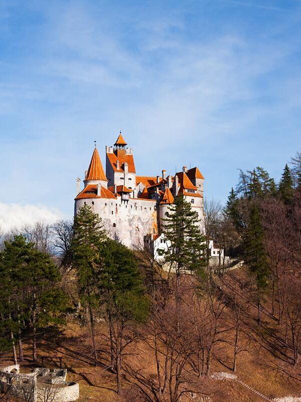Bran Castle on hill top view in Romania