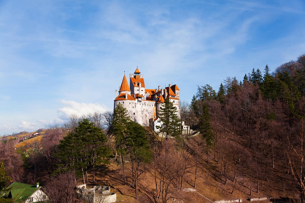Bran Castle on hill top view in Romania