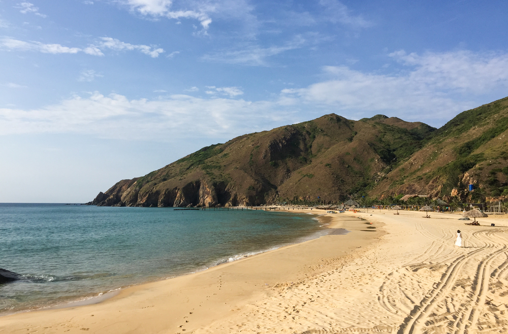 Seascape of Ky Co Beach, Quy Nhon, Vietnam. In recent years, there has been a significant shift towards service industries and tourism in Quy Nhon.