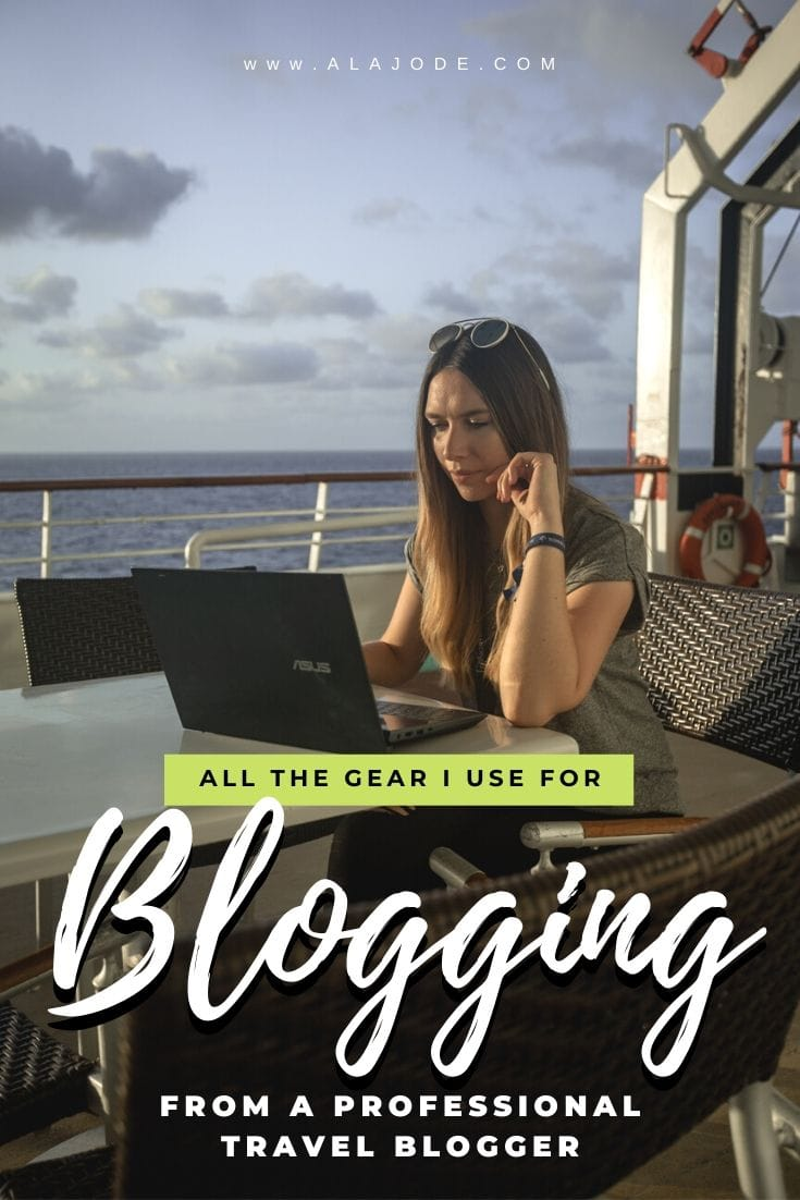 Blogging gear of a professional travel blogger