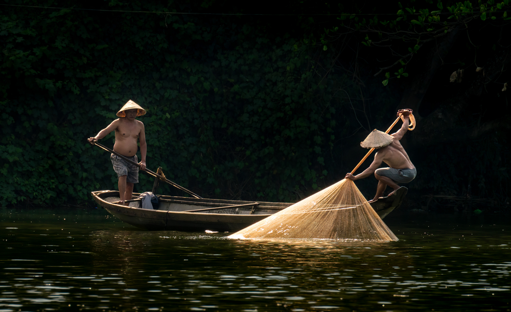 Two Vietnamese fishermen catching fish and dragging out a large yellow fishnet on a boat from the peaceful Song Nhu Y River in Hue, Vietnam
