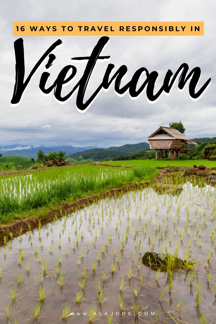 Pinterest image: 16 ways to travel responsibly in Vietnam