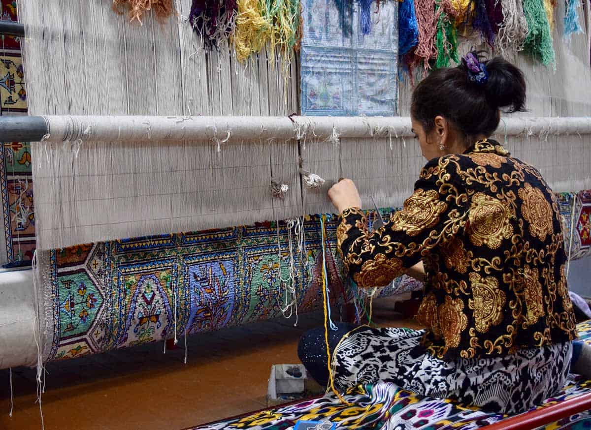 A woman weaving in Uzbekistan