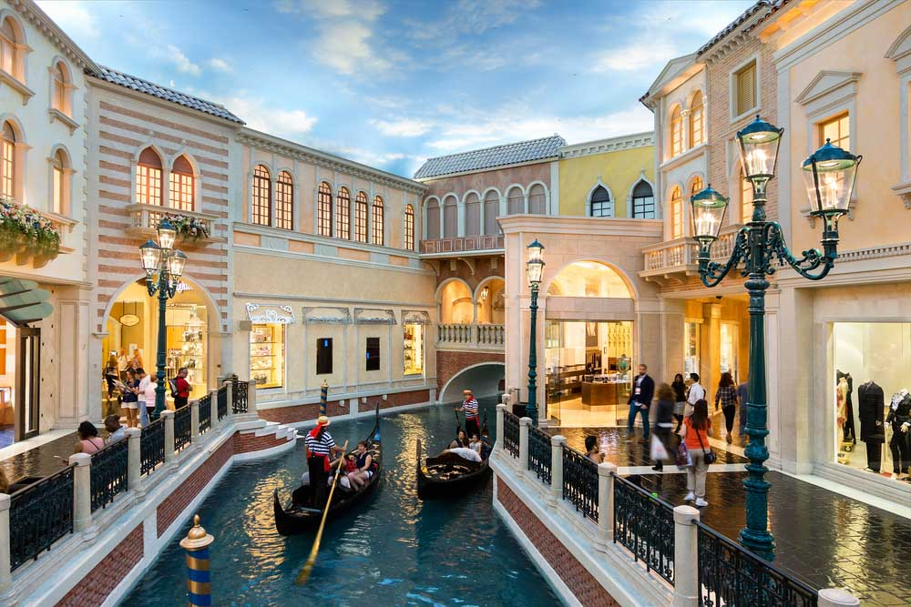 A romantic gondola ride at the Venetian Hotel in Las Vegas Nevada USA