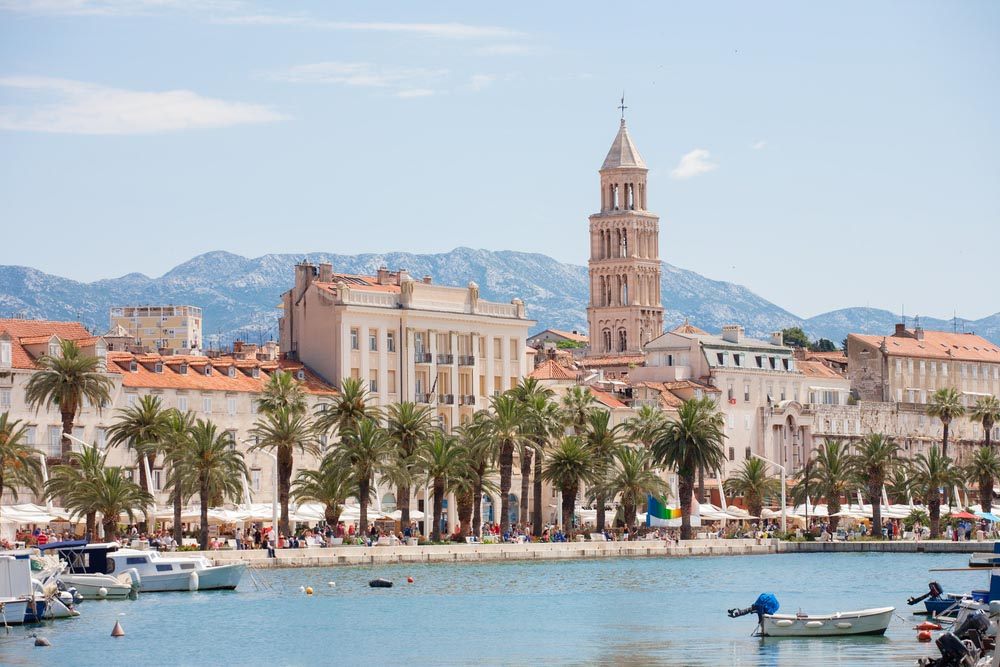 Split in Croatia with the Dioclean palace and the dome from the sea