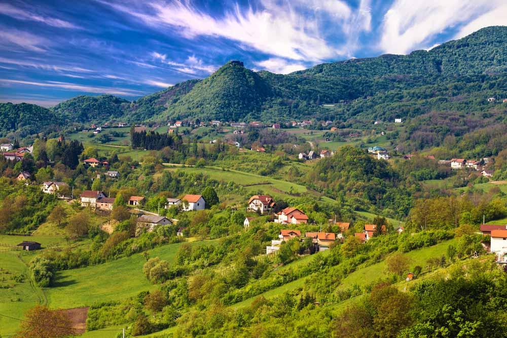 Picturesque landscape of Samobor hills, northern Croatia